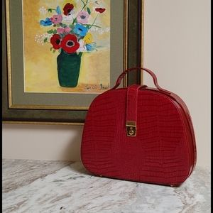 Vintage Red Crocodile Patent Leather Bag
